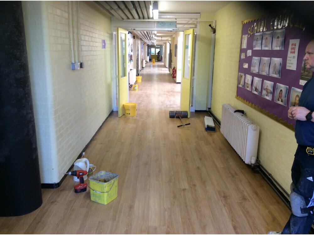 Entrance Way Corridor Woodplank vinyl Installation completed