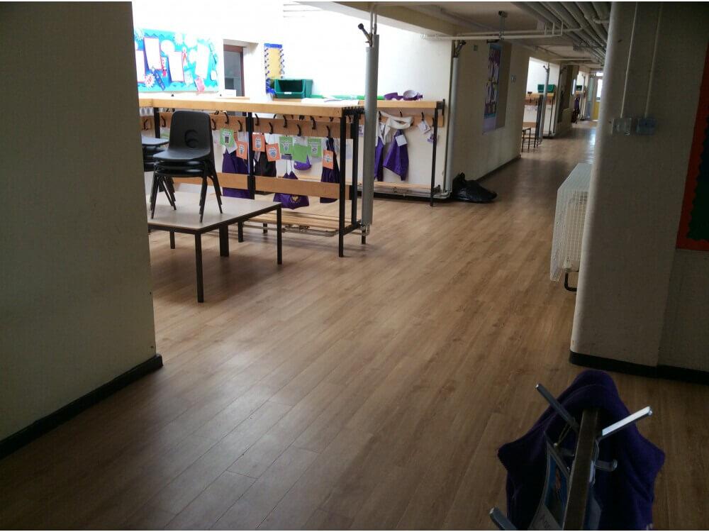School Corridor Woodplank vinyl 2