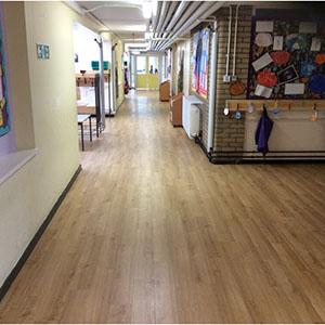 School Corridor Woodplank vinyl 3