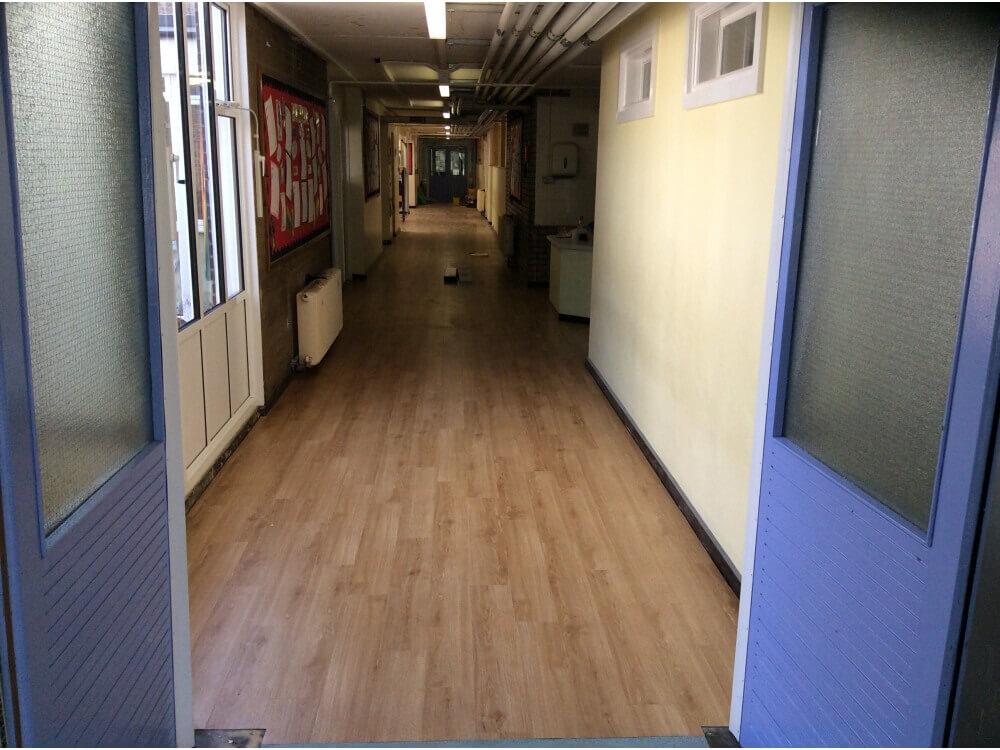 School Corridor Woodplank vinyl 4