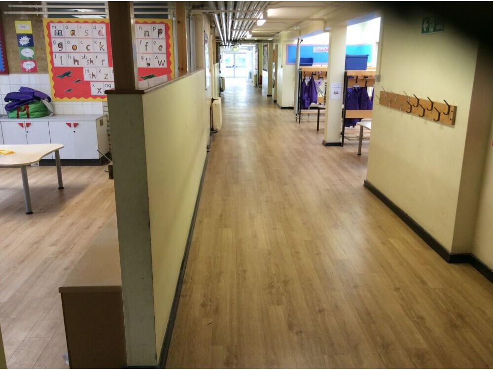 School Corridor Woodplank vinyl 5