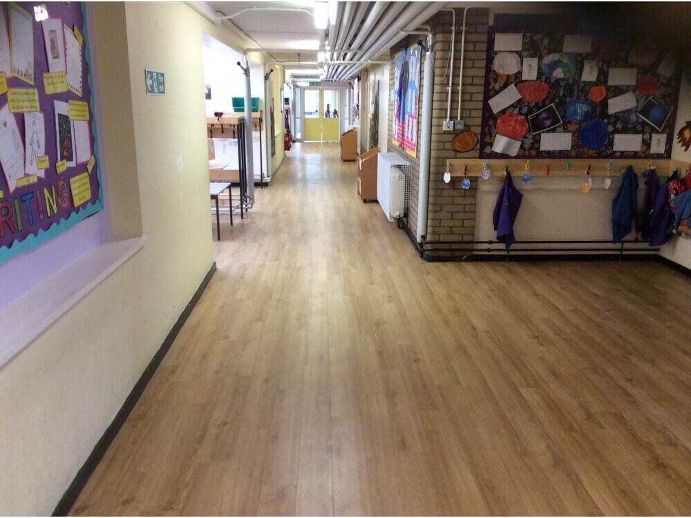 School Corridor Woodplank vinyl 7