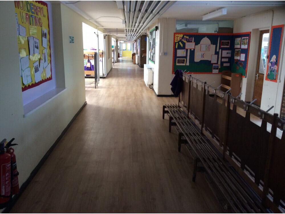 School Corridor Woodplank vinyl 8