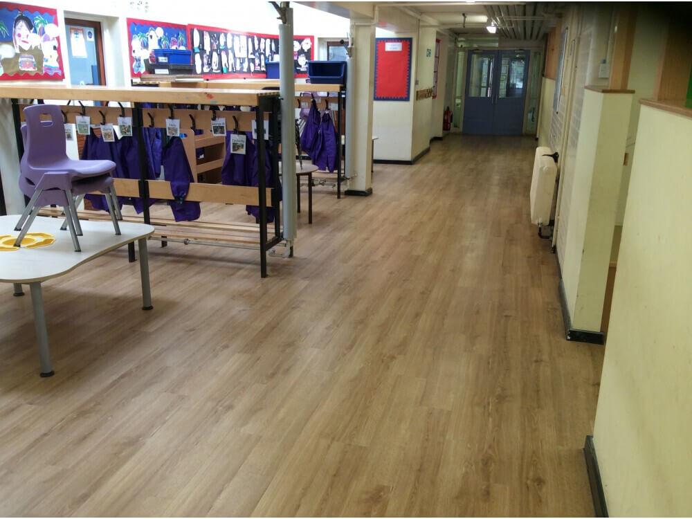 School Corridor Woodplank vinyl