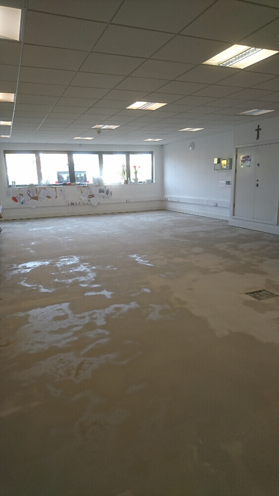 Marmoleum marble sheet vinyl fitted at school office by Easifit Flooring
