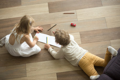 Children on loose lay vinyl flooring